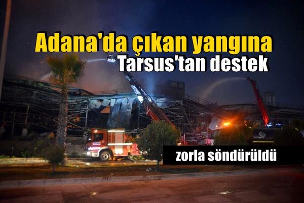 Adana'da çıkan yangına, Tarsus'tan ek destek gitti.