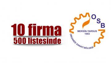 Mersin Tarsus OSB'den 10 firma İSO 500 listesinde