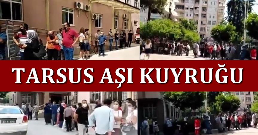 Tarsus Devlet Hastanesi'ndeki Covid19 aşı kuyruğu uzadıkça uzadı.